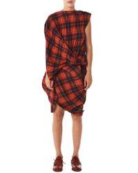 Junya Watanabe - Red Pleated Plaid Dress - Lyst