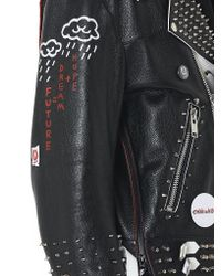 99% Is Black Studded Leather Biker Jacket for men