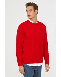 6077028b7f6 Lyst - H&M Cable-knit Wool Sweater in Red for Men