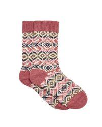 Hobbs - Pink Bonnie Fairisle Sock - Lyst