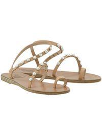0bdf7a7b4 Lyst - Ancient Greek Sandals Apli Eleftheria Pearls Tan Leather ...