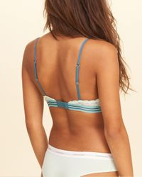 Hollister - Blue Lace Triangle Bralette With Removable Pads - Lyst