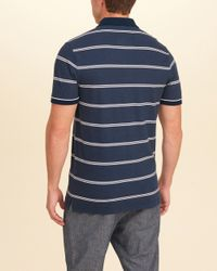 Hollister - Blue Stripe Pique Polo for Men - Lyst