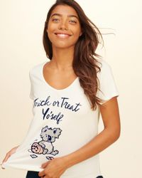 Hollister - White Graphic Sleep T-shirt - Lyst
