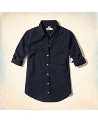 Hollister - Blue Button-front Oxford Shirt - Lyst
