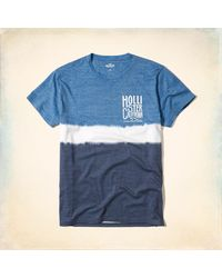 Hollister - Blue Wash Effects Logo Graphic Tee for Men - Lyst