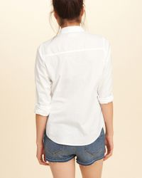 Hollister | White Button-front Cotton Shirt | Lyst