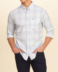 Hollister | White Patterned Stretch Poplin Shirt for Men | Lyst