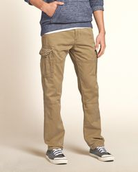 Hollister - Brown Slim Cargo Zipper Fly Pants for Men - Lyst
