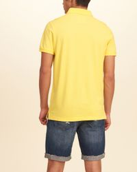 Hollister - Yellow Contrast Icon Polo for Men - Lyst
