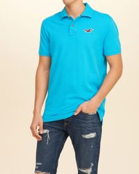 Hollister - Blue Solid Pique Polo for Men - Lyst