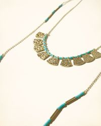 Hollister - Blue Beaded Layer Necklace - Lyst
