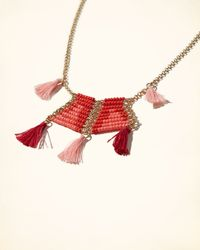 Hollister - Multicolor Golden Tassel Necklace - Lyst