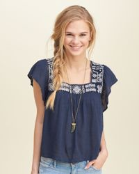 Hollister - Blue Horn Pendant Necklace - Lyst