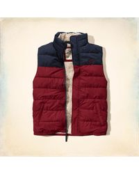 Hollister - Red Sherpa Lined Puffer Vest - Lyst