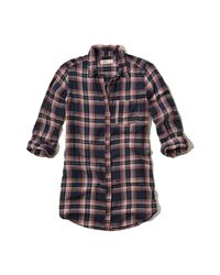 Hollister - Blue Plaid Tunic Shirt - Lyst