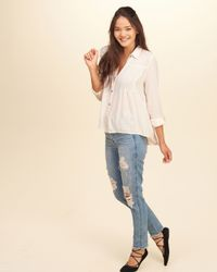 Hollister - Multicolor Pintuck Button Front Shirt - Lyst