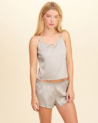 Hollister - Metallic Strappy Satin Sleep Set - Lyst