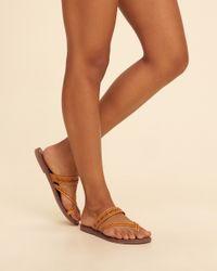 Hollister - Brown Eyelet Slide Sandal - Lyst