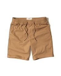 Hollister | Natural Classic Fit Pull-on Twill Shorts for Men | Lyst