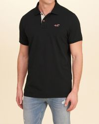 Hollister - Black Stretch Pique Icon Polo for Men - Lyst