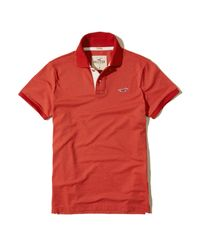 Hollister | Red Stretch Pique Icon Polo for Men | Lyst