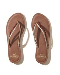Hollister - Brown Vegan Leather Mixed Strap Flip Flop - Lyst