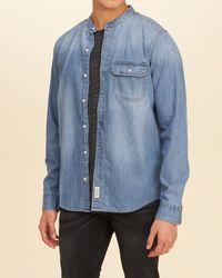 Hollister | Blue Banded Collar Denim Shirt for Men | Lyst