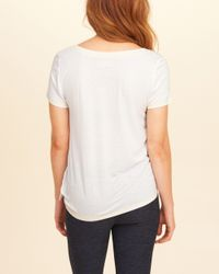 Hollister - White Side-tie Graphic Tee - Lyst