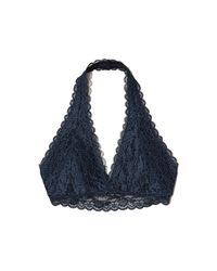 Hollister - Blue Lace Halter Bralette With Removable Pads - Lyst