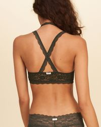 Hollister - Green Strappy Lace Bralette With Removable Pads - Lyst