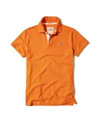 Hollister - Orange Stretch Pique Icon Polo for Men - Lyst