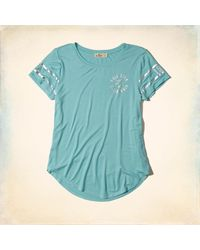 Hollister - Blue Logo Graphic Tee - Lyst