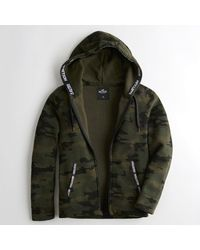 Hollister Green Guys Logo Tape Full-zip Hoodie From Hollister for men