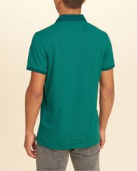 Hollister - Green Stretch Pique Icon Polo for Men - Lyst