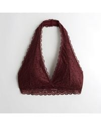 c074aab083 Lyst - Hollister Girls Lace Halter Bralette With Removable Pads From ...