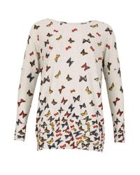 Izabel London - Gray Knitted Butterfly Print Top - Lyst