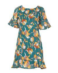 Tenki - Green Half Sleeve Floral Ruffle Dress - Lyst