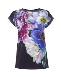 Oasis - Blue Digital Floral Dream Tee - Lyst