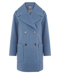 Oasis - Blue Olive Double Breasted Relaxed Coat - Lyst