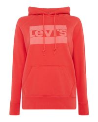 Levi's - Red Hoodie With Graphic Sport Logo - Lyst