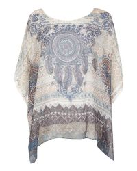 Izabel London | Multicolor Short Sleeve Boho Printed Blouse Top | Lyst