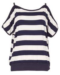 Izabel London - Blue Block Striped Cold Shoulder Top - Lyst