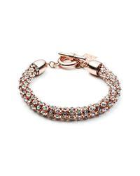 Anne Klein - Pink Tubular Pave Toggle Bracelet - Lyst