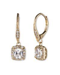 Anne Klein - Metallic Gold-tone Pavé Crystal Drop Earrings - Lyst