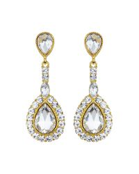 Mikey | Metallic Oval Stone Large Surround Drop Earring | Lyst