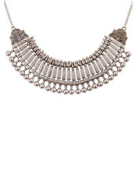Ruby Rocks | Metallic Silver Bead Aztec Necklace | Lyst