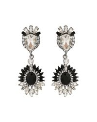 Mikey   Black Oval Crystals Attach Crystals Earring   Lyst