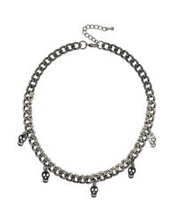 Mikey | Metallic Multi Skull Necklace Ribbon & Metal | Lyst