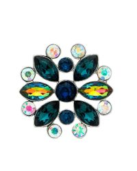 Monet | Green Peacock Crystal Navette Brooch | Lyst
